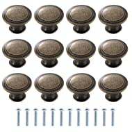【Vintage Cabinet Knobs】:Our vintage cabinet knobs are made of zinc alloy and iron. Round shaped door knobs pull handles, delicate and practical. Simple cabinet upgrade, Decorative drawer knobs. 【Vintage Style Drawer Knobs】:Our vintage style zinc-allo...