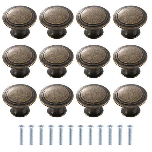 TsunNee 12 pomelli vintage per armadietti, pomelli per cassetti in stile antico, per armadi da cucina, 30 mm, colore: bronzo