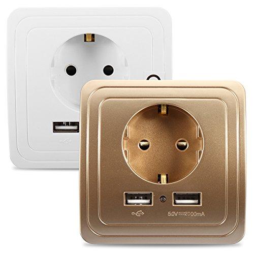 Ils - 2.1 A dual USB-poorten lader netadapter stopcontact EU-stekker houder