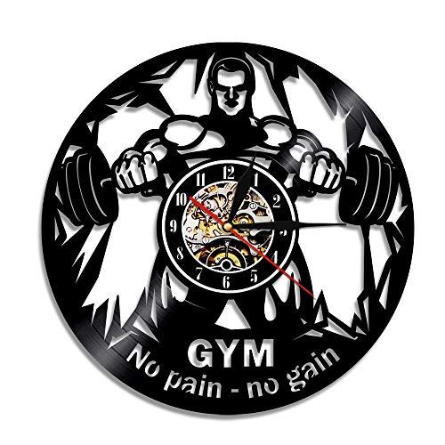 LED 7 Colores Relojes de Pared Gym No Pain No Gain Disco de Vinilo Decoración Bodybuilder Crossfit S Gym Art Decor Unqiue Regalo para Ella él con luz