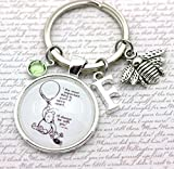 Winnie The Pooh, I'll Always Be With You', Personalised Pooh Bear and Piglet Keyring, Bee Charm, Initial and Birthstone Crystal