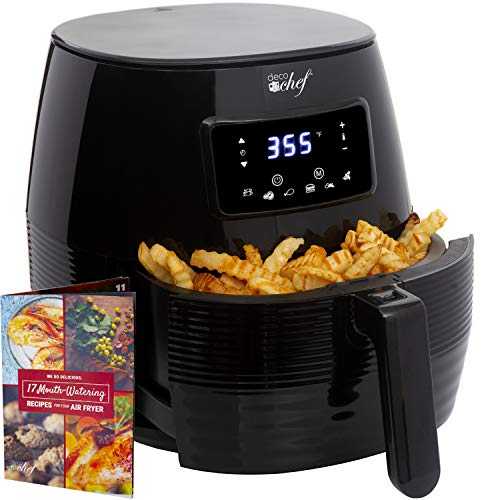 Deco Chef 5.8QT Digital Electric Air Fryer with Accessories and Cookbook- Air Frying, Roasting, Baking, Crisping, and Reheating for Healthier Faster Cooking (Black)