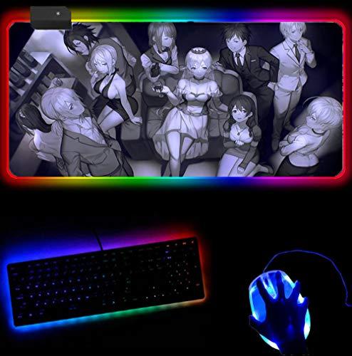 RGB Mauspad Food Wars Mauspad Gamer Hd Muster Mousepad Gummi Schreibtischmatte Mode Gaming Zubehör PC-Spiel Tastaturmatten CS (30 x 60 cm)