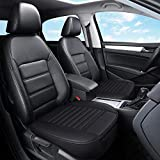 Flying Swallow Car Seat Cover, Edge Wrapping Car Front Seat Cover Pad Mat for Auto Supplies Office Chair with PU Leather (Black)