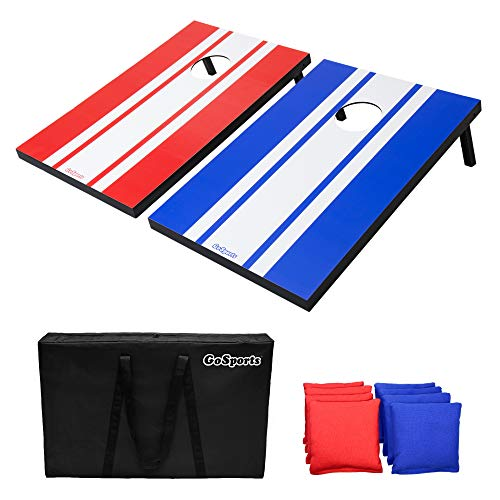 GoSports Classic Cornhole Set - Includes 8 Bean Bags, Travel Case and Game Rules (Choose Between Classic, American Flag, and Football Designs) (CH-01-MDF)