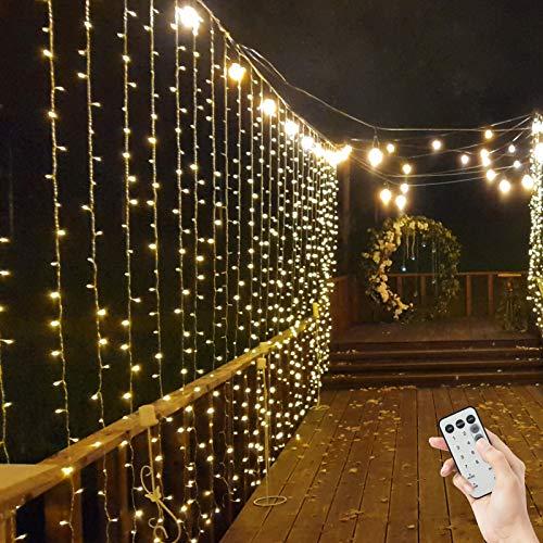 BLOOMWIN Tenda Luminosa 8 modalità + Funzione Timer con Telecomando 600 LED 6m * 3m 6V a Bassa Tensione Luci Stringa con Ganci per Interno Esterno Natale Finestra Giardino Bianco caldo