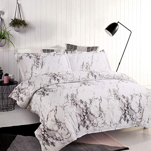 Bedsure Marble Design Duvet Cover Set with Zipper Closure-Printed Bedding Set,Full/Queen (90x90 inches)-3 Pieces (1 Duvet Cover + 2 Pillow Shams)-Ultra Soft Hypoallergenic Microfiber