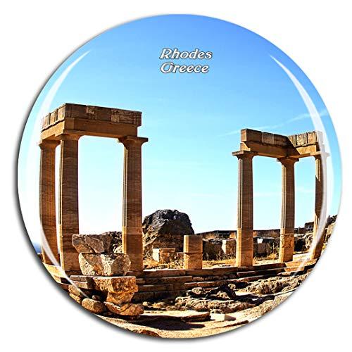 Weekino Grecia Acropoli di Lindos Rodi Calamità da frigo 3D Cristallo Bicchiere Tourist City Viaggio Souvenir Collezione Regalo Forte Frigorifero Sticker