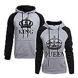 King Queen Sudaderas con Capucha Manga Larga Jersey Camisa de Entrenamiento Pullover Rey Reina Hoodies Parejas Tops Regalo de cumpleaños 2 Piezas (Gris, King M+Queen M)