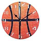 WXLIFE Sport Ball 3D Basketball Round Acrylic Wall Clock, Silent Non Ticking Art Painting for Kids Bedroom Living Room Office School Home Decor