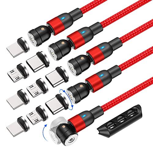 AUFU Magnetisches USB-Kabel, 5 Stück [0.5m+1m+2m+2m+3m], Magnet Ladekabel 360°+180° Rotierendes Magnetisches Ladekabel Datenkabel für Samsung Galaxy Huawei Xiaomi Sony