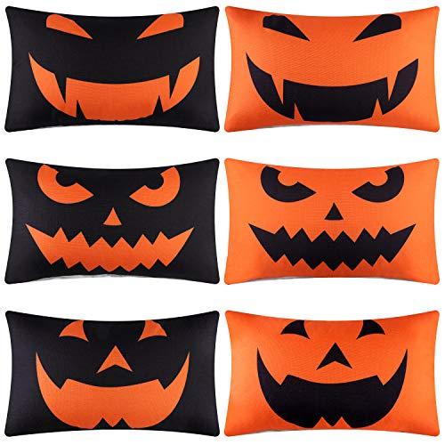 Aneco 6 Pieces Halloween Throw Pillow Covers Pumpkin Smiley Face Pillowcases Decoration Cushion Cover for Halloween Thanksgiving Decoration, 12 x 20 Inches