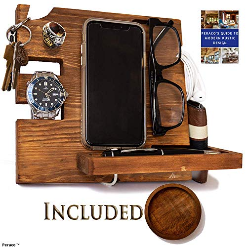 Peraco's Wooden Docking Station for Men and Nightstand Organizer - Holds Phone Keys, Watch, Wallet,...