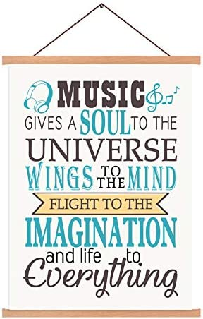 Music Notes Magnetic Natural Wood Hanger Frame Poster Canvas Inspirational Funny Lettering Quotes product image
