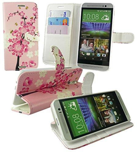 Emartbuy® HTC One E8 Brieftaschen Wallet Etui Hülle Case Cover aus PU Leder Rosa Blossom mit Kreditkartenfächer