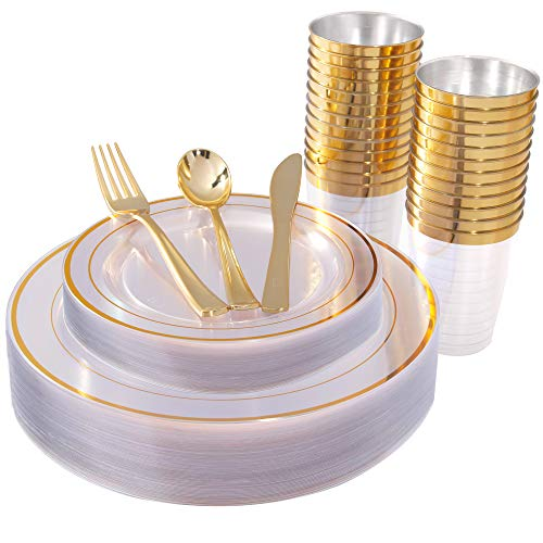 150 Pieces Gold Plastic Plates & Silverware & Cups, Clear Disposable Plastic Dinnerware Set Includes: 25 Dinner Plates 10.25