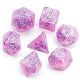 World of Dice Pink Butterfly - 7-teiliges Pen & Paper Würfelset, RPG-Würfel, Einsteigerset, für DSA, Dungeons and Dragons, 20-seitige Würfel, pink