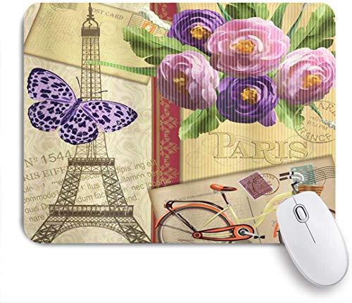 Dekoratives Gaming-Mauspad,Berühmte französische Landmark Eiffelturm-Postkarten mit abstraktem gestreiftem Hintergrund,Bürocomputer-Mausmatte mit rutschfester Gummibasis
