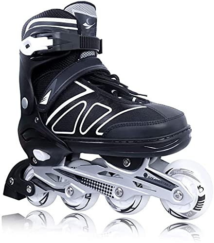 Adjustable Inline Skates for Kids and Adults with Light up Wheels Beginner Skates Safe and Durable Inline Roller Skates for Girls and Boys, Mens and Womens Black Size 8