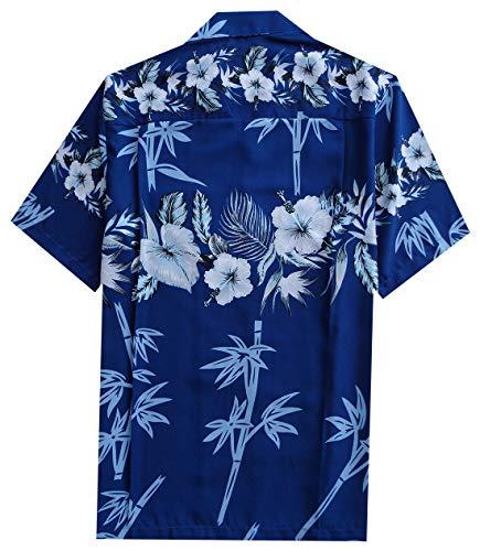 ALVISH Hawaiian Shirt 35 Mens Bamboo Tree Print Beach Aloha Party Holiday Blue L