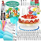 Kitchwise Cake Decorating Turntable, 166 Pack with Numbered Piping Tips, All-in-one Baking Set