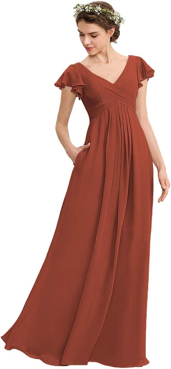 Lover Kiss Women V-Neck Bridesmaid Dress with Pockets Pleat Chiffon Short Sleeves Long Formal Evening Dress YJ005