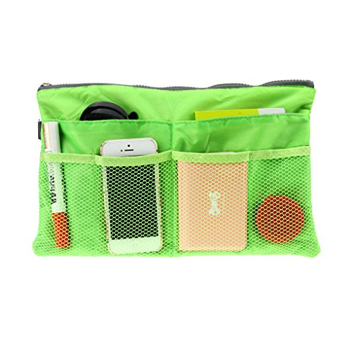 FakeFace Multi-funtional Nylon Zipper Travel Handbag Pouch/Bag in Bag/Insert Organizer/Cosmetic Toiletry Bag Pocket/Makeup Bag/Tidy Bag Green