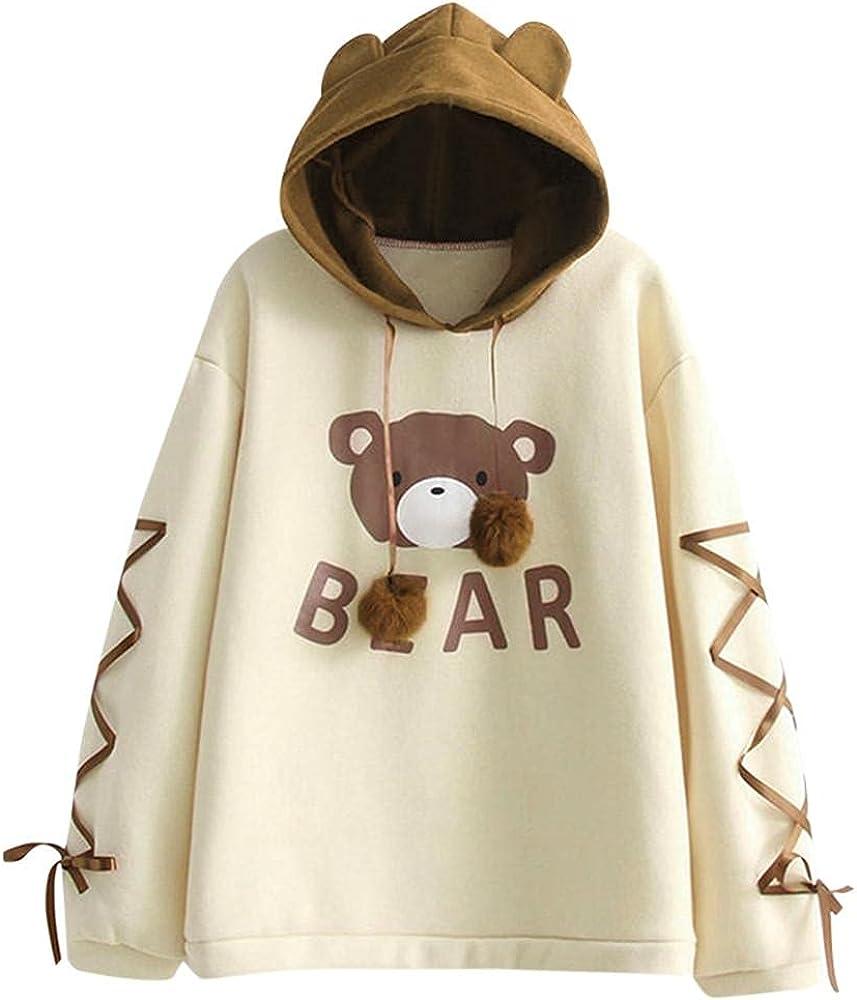 Hoodies for Women Pullover,Cute Sweatshirt for Teen Girls Pocket Long Sleeve Hooded Loose Tops Shirt