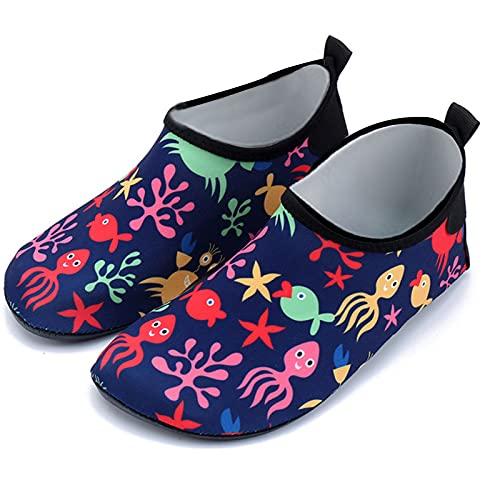 Gogokids Zapatos de agua para niños – Zapatillas de baño para niños y niñas, de secado rápido, zapatos deportivos para exteriores, de 3 a 6 años, color Azul, talla 28 EU