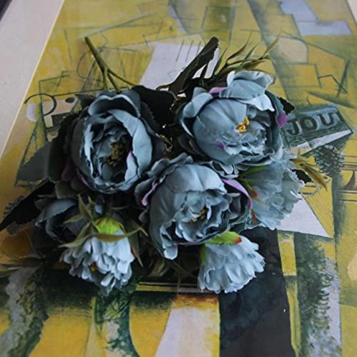 Bouquet shabby chic European Pretty Bride Wedding Piccoli fiori di seta di peonia Mini fiori finti per la decorazione domestica Indoor,Blue