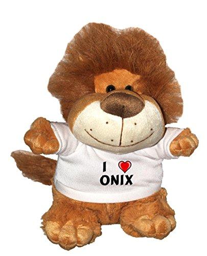 León de peluche (Fetzy) con Amo Onix en la camiseta (nombre de pila/apellido/apodo)