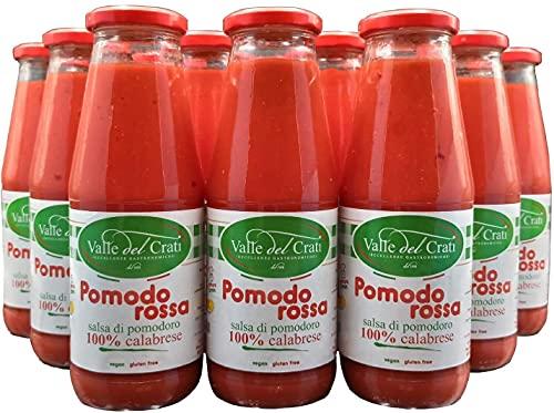 6 Bottiglie Salsa Di Pomodoro 100% Calabrese, Naturale Vegana e Senza Glutine , Passata Di Pomodori Calabresi ideale per Pasta Sugo Pizza Condimenti Carne e Pesce, Pronta in 5 Minuti (6)