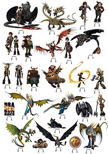 27 x HOW TO TRAIN YOUR Dragon Party Essbar Wafer Karte Cup Cake Stand Up Topper J