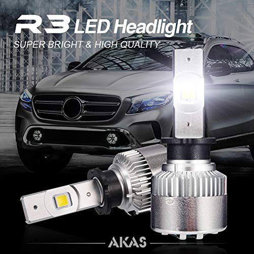 ALIFE-Y Bombilla LED Coche, 7000LM Faros Delanteros Bombillas para Moto, Reemplazo de la Luz Halógena, 8V-16V, Xenon Blanco 6500K, 2 Lámparas,H3