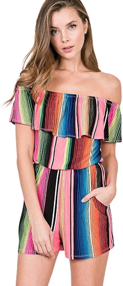 Women's In stock Fiesta Printed Max 47% OFF Multi Shoulder Off Romper Color