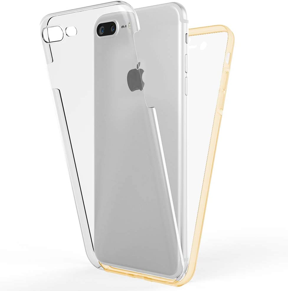 NALIA 360 Degree Cover Compatible with iPhone 7 Plus / 8 Plus, Silicone Bumper with Ultra-Thin Front Screen Protector & Back Hardcase Clear Complete Mobile Phone Coverage Full-Body, Color:Gold