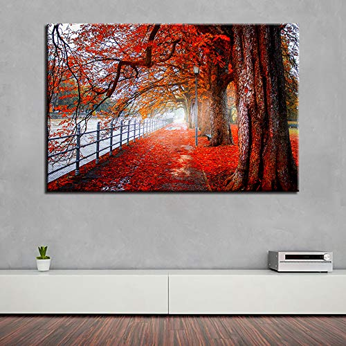 Leinwandbilder Wandkunst Rahmen 1 Stück Herbst Riverside Trail Rote Bäume Landschaft Gemälde HD Drucke Blätter Poster Wohnkultur R1 30x40 CM (Kein rahmen)