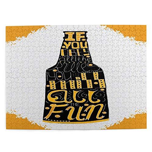 CVSANALA Rompecabezas con Imágenes 500 Piezas,Si obedece Todas Las Reglas,se perderá Todas Las Divertidas Letras en la Botella de Cerveza,Juego Familiar Arte de Pared Regalo,20.4' x 15'