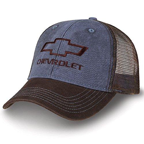 Chevrolet Bowtie Washed Dark Blue and Brown Mesh Hat