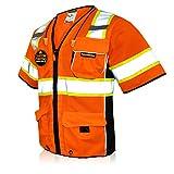 KwikSafety (Charlotte, NC) EXECUTIVE (10 Pockets) Class 3 ANSI High Visibility Reflective Safety Vest Heavy Duty Mesh with Zipper and HiVis OSHA Construction Work HiViz Men Women | Orange X-Large