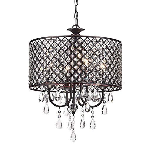 Edvivi Marya 4-Lights Oil Rubbed Bronze Round Crystal Chandelier Ceiling Fixture | Beaded Drum Shade | Glam Lighting