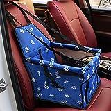 Litthing Asiento del Coche para Mascotas Asiento de Transporte para Perro Gato Plegable Viaje Bolsas Portable Mascotas Cubierta Asiento Vehículo Perro para Viaje (Azul)