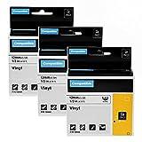 Airmall 3x Etiquetas Caja para Vinilo Impresora Compatible con Dymo 18444 S0718600 12mm x 5.5m Cinta Autoadhesivas de Etiquetado Industrial para Dymo Rhino 5200 4200 6000 1000 3000 Negro sobre Blanco