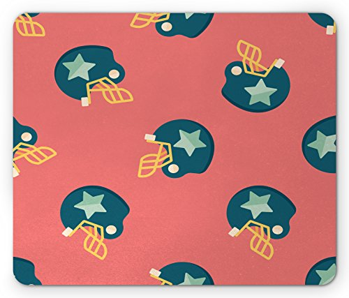 Lunarable Football Mouse Pad, Sports Icons with Stars Retro Display Game Safety Headgear, Standard Size Rectangle Non-Slip Rubber Mousepad, Dark Coral Yellow Petrol Blue