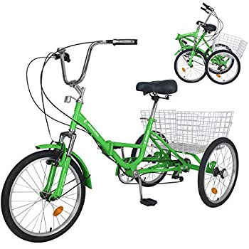 Adult Folding Tricycles 20  Wheels 7 Speed 3 Wheel Bike Cruiser Trike with Low Step-Through Large Basket Foldable Tricycle for Adults Women Men Seniors Exercise Shopping