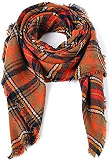 Plaid Blanket Thick Winter Scarf Tartan Chunky Wrap Oversized Shawl Cape for Women