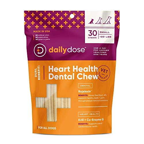 dailydose Dual Benefit - Dental + Heart Health Chews for Dogs, Small | Dental Treats with Supplements