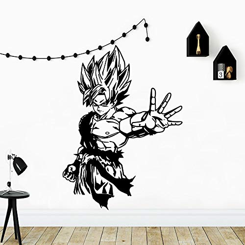 Etiqueta engomada de la pared del vinilo Anime Cartoon Manga Dragon Ball Super Saiyan Son Goku Muscle Wukong Art Car Decal Boy Fans Dormitorio Sala de estar GYM Club Home Decor Mural