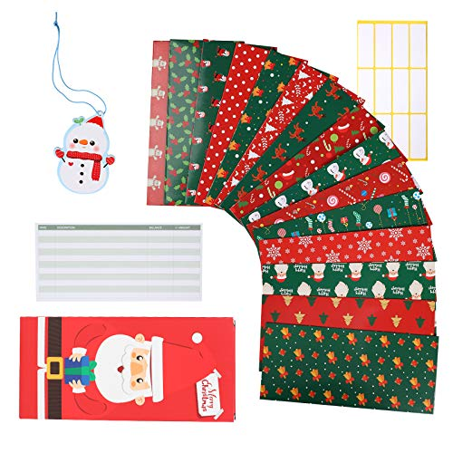 LYOOMALL 15 Christmas Budget Envelopes Cash Money Envelope System for Budgeting and Saving Tear and Water Resistant Plus 15 Budget Sheets