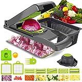 Onion Chopper,Vegetable Chopper Food Chopper with Large Container,12 in 1 Adjustable Mandolin Slicer, Multi-Blade for Food Salad Potato Veggie Fruit Chopper Cutter (Grey)